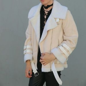 Cream Fur Lined Oversized Jacket Large Warm Cozy L